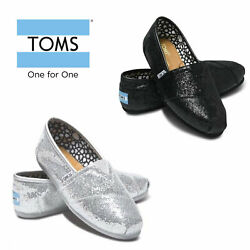 Women's Toms Glitter Classic Canvas Flat Slip On Style Shoes US Size $34.99