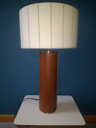 Thomas O'Brien Mid Century Modern Style Leather Desk Table Lamp w Drum Shade $79.95