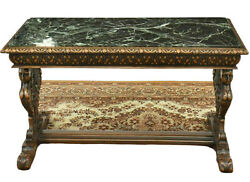 Antique Table Coffee Renaissance Style Figured Carved Marble Top Gorgeous $2082.85