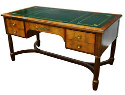 Antique Desk French Empire Style Mahogany Bureau Plat Green Top 1800s $2675.51