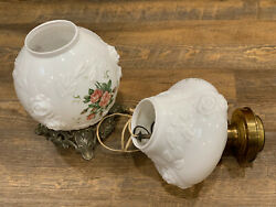 Vintage Gone With The Wind Parlor Lamp Embossed Roses Milk Glass Floral 3 Way  $99.95