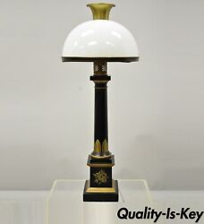 French Empire Tole Metal Column Black Gold Bouillotte Desk Table Lamp with Shade $1,800.00