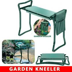 2-in-1 Folding Garden Kneeler Seat Bench Kneeling Soft Eva Pad Seat w/Tools Bag $28.99