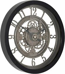 Wall Clock 24quot; 2#x27; Large Analog Modern Contemporary Industrial Gears Steampunk $169.00