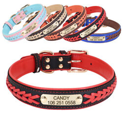 Braided Leather Dog Collars for Large Dogs Personalized Engraved ID Name Custom $10.99