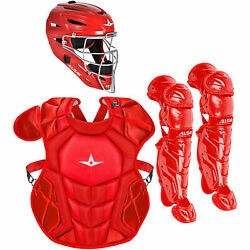All-Star System7 Axis NOCSAE Youth Baseball Catcher's Set - Solid Scarlet $349.95