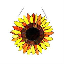 Stained Glass Chloe Lighting Sunflower Window Panel 16quot; Diameter Handcrafted New $77.84