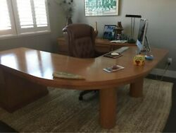 Custom made cherry wood office desk and cabinet; excellent condition $500.00