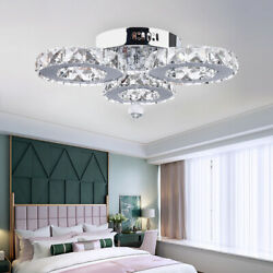 Crystal Chandelier Lighting Modern Simple Round Silver 36W LED Ceiling Fixture $52.00
