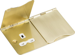 Knightsbridge 2G Floor Socket 13A Unswitched Flat Plate Br Brass amp; White Insert $20.60