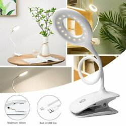 Bedroom Reading Study LED Lamp Clip-on Adjustable Touch Table Light Rechargeable $19.99