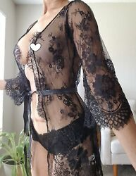 Black Sheer Sexy Rob Lingerie Sleepwear Cover Up Lace Small $13.50