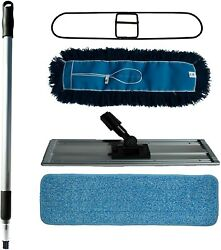 Nine Forty Commercial 24 Inch Floor Mop Set Microfiber Flat Wet Pad USA Nylo