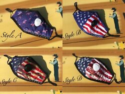 American Flag Cotton Face Mask Adjustable with Valve Washable Reusable CAMO $5.99