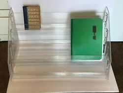 VINTAGE MID CENTURY LUCITE ACRYLIC TABLE BOOK DISPLAY MAGAZINE RACK 4 DIVIDER $99.99