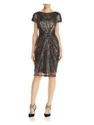 TADASHI SHOJI $408 New 0188 Black Sequined Mesh Boat Neck Cocktail Dress S B+B