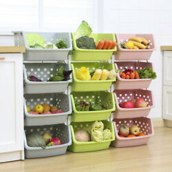 Kitchen Home Storage Stacking Stackable Basket Fruit Vegetable Rack Multi Tier $21.42