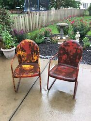 Vintage Clam Shell Bounce Back Patio Chair $95.00