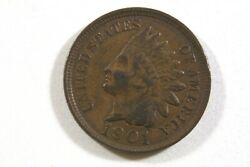 ONE  UNITED STATES 1901  INDIAN HEAD CENT EXTRA   FINE CIRCULATED CONDITION