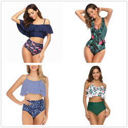 NEW Swimsuit for Women Two Piece Bathing Suit Top Ruffled Racerback High Waisted $20.99