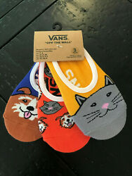3 pack Vans off the wall girls womens 1 6 no show socks cats dogs $14.99