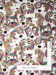 Dog Gone It Puppy Dog Dogs Paisley Gold Gild Cotton Fabric Benartex By The Yard $11.95