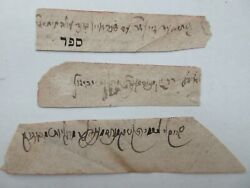 Judaica Antique 3 small paper with ancient Jewish Hebrew Rabbinical Signatures.