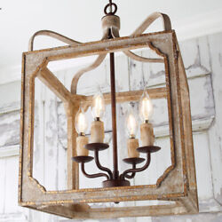 French Country Metal and Wood Square Lantern Chandelier with 4 Light Home Decor $244.39