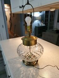Vintage Frederick Cooper CHICAGO Table Lamp Heavy Glass Brass Hollywood Regency $149.00