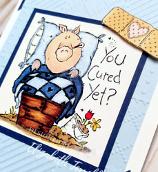 3 Stampin Up Card Kit GET WELL Farm Fever Pig quilt Happy Healing Wishes FUNNY