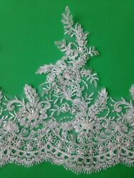 Embroidered lace trim applique for wedding with beads by the yard. Off white. $10.99