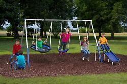 Free N#x27; Swing Swing Set Gray Galvanized Steel 5 Play Stations $299.95