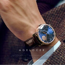 AGELOCER Men#x27;s Vintage Moon Phase Gold Selfwinding Power 80h Wristwatch Watch $765.00