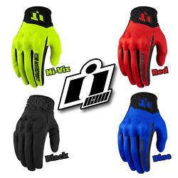 ICON ANTHEM 2 Mesh Leather Touchscreen Motorcycle Gloves Choose Size Color $40.00