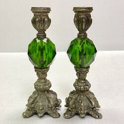 Circa 1970#x27;s Modernist Metal Brass Green Molded Plastic Globe Two Candle Holders $30.00