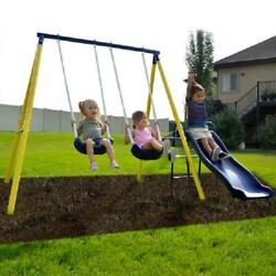 Metal Swing Set With 5 feet Slide Outdoor Backyard Playset Fun Kids Playground $171.09