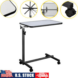US Mobile Laptop Desk Bedside Computers Study Table Adjustable Height W Wheels $81.41