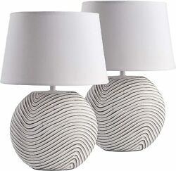 2 Pack BRUBAKER Table or Bedside Lamps White Ceramic Base 15quot; $37.99