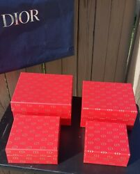 4 NEW Empty Christian Dior CD Red Gold Boxes....One inside the other...RARE $124.23