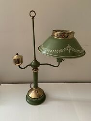Vintage Metal Tole Lamp Green Desk Table Student Light $45.00