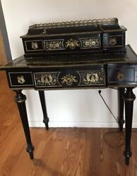 VICTORIAN PEAR BLACK WITH GOLD INLAY ANTIQUE DESK W SECRETARY $1200.00