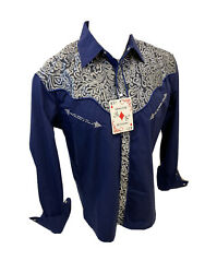 Men RODEO WESTERN COUNTRY NAVY BLUE STITCH TRIBAL SNAP UP Shirt Cowboy 05585 $27.99
