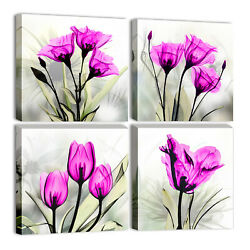 Abstract Flowers Wall Paintings Pink Tulip Pictures for Living Room Home Decor $39.89