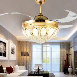 42quot; Modern Remote Invisible Ceiling Fan Lamp Crystal LED Light Chandelier $174.79