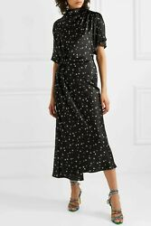 STINE GOYA RHODE BLACK PRINT ORGANIC SILK SATIN MIDI DRESS M $175.00