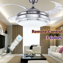 42quot; LED Invisible Ceiling Fan Light Dining Room Chandelier Lamp Remote Control . $107.99