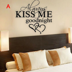 ALWAYS KISS ME GOODNIGHT LOVE Quote DIY Wall Sticker Indoor Removable Decals $3.99