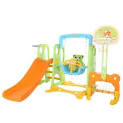 5 In 1 Kids Indoor And Outdoor Slide Swing And Basketball Football Baseball Set $201.99