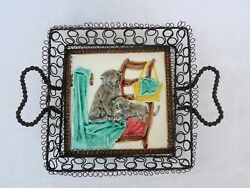 Wire Basket Antique with Majolica Cats Decor $128.00