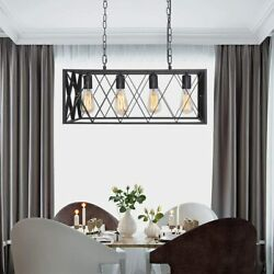 Kitchen Island Light 4 Light Ceiling Hanging Light Fixture Black Chandelier US $87.99